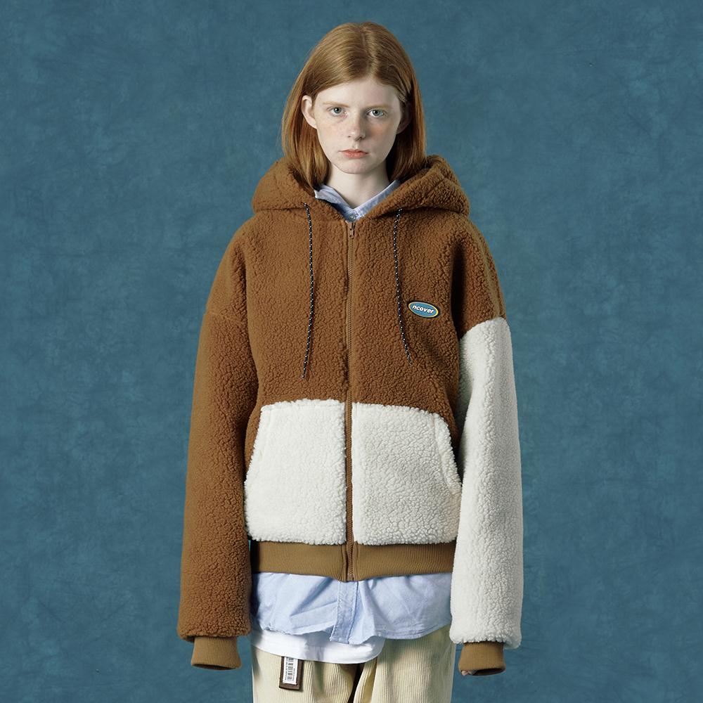 [단독할인][앤커버] Rubber fleece hoodie zipup-camel