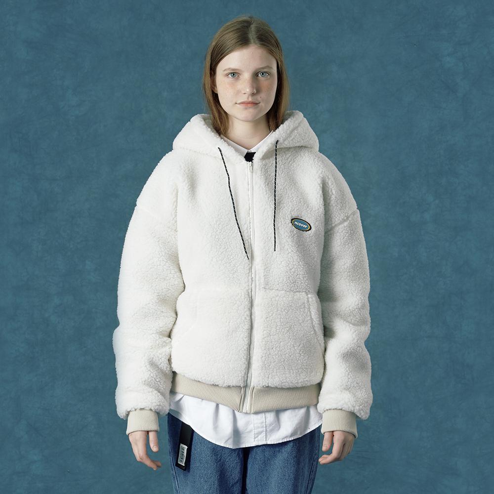 [단독할인][앤커버] Rubber fleece hoodie zipup-ivory