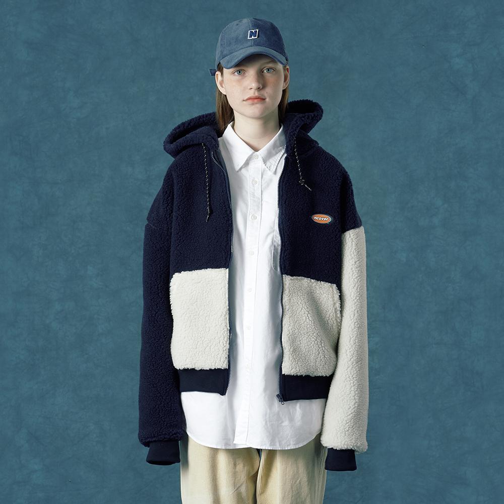 [단독할인][앤커버] Rubber fleece hoodie zipup-navy