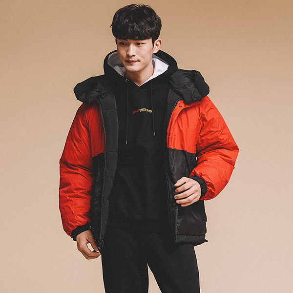 [크루비단독최저가]REVERSIBLE HOODED DOWN JACKET BLACK