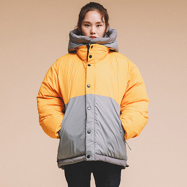 REVERSIBLE HOODED DOWN JACKET GRAY