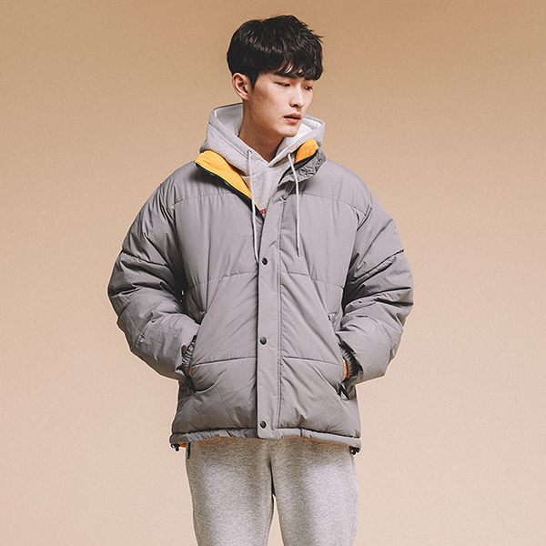 BASIC REVERSIBLE DOWN JACKET GRAY