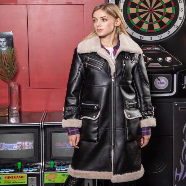 여성 무스탕 - WOMENS FULL LENGTH FAUX SHEEPSKIN COAT