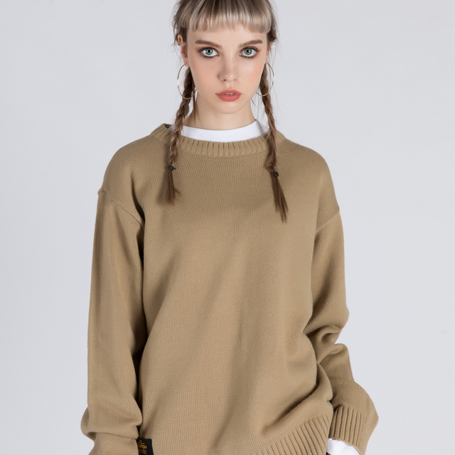 BASIC CREW NECK SWEATER (SAF3SW01) (BROWN)