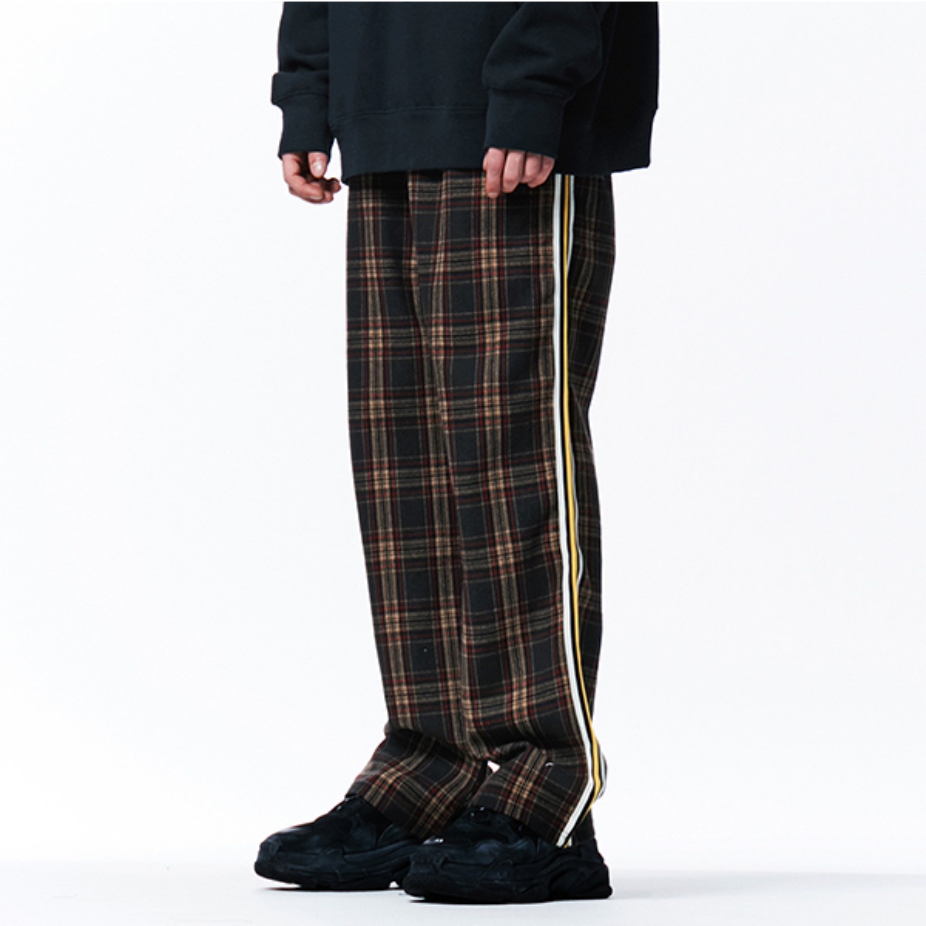 [113]CHECK PATTERN SIDE LINE PANTS(BROWN)