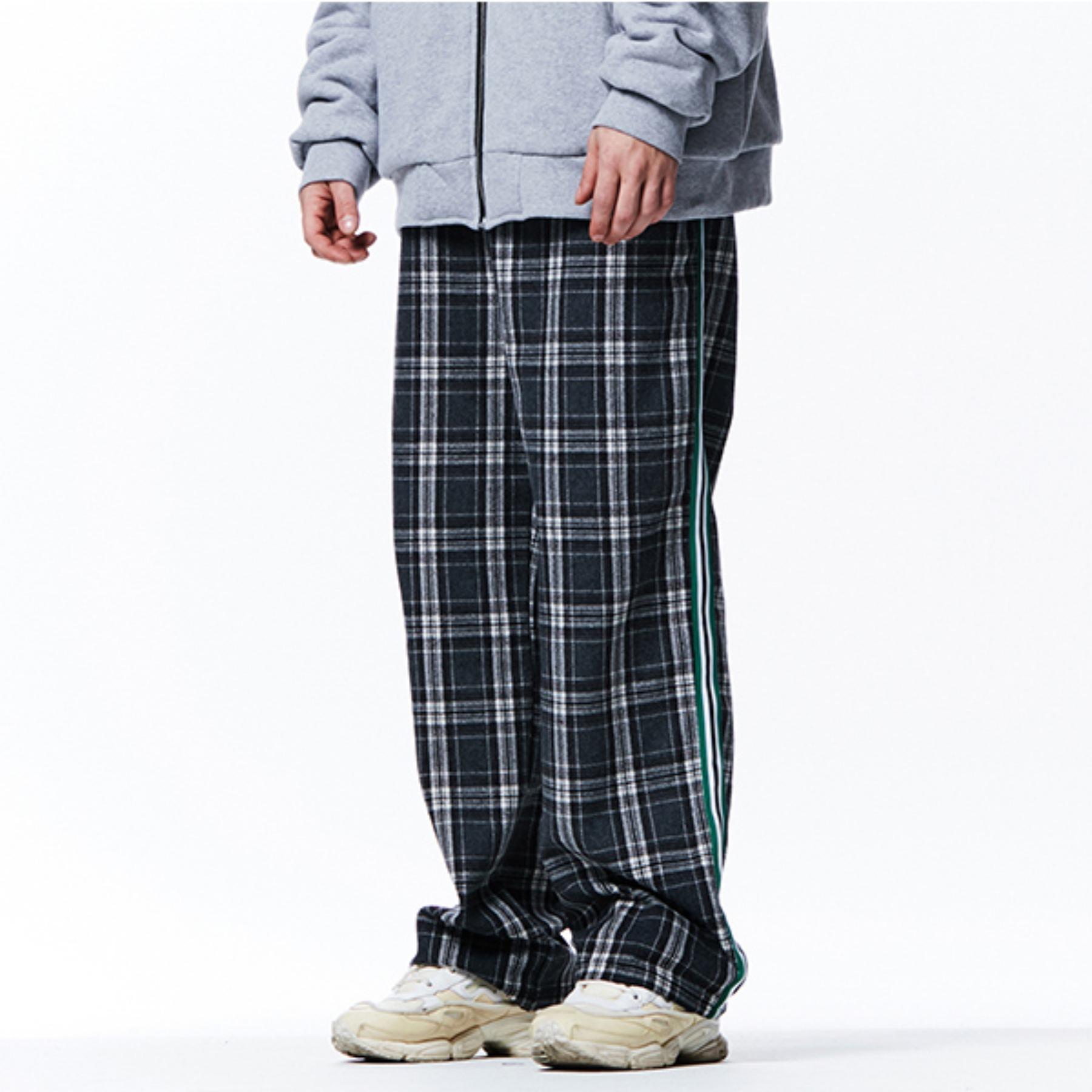 [113]CHECK PATTERN SIDE LINE PANTS(GRAY)
