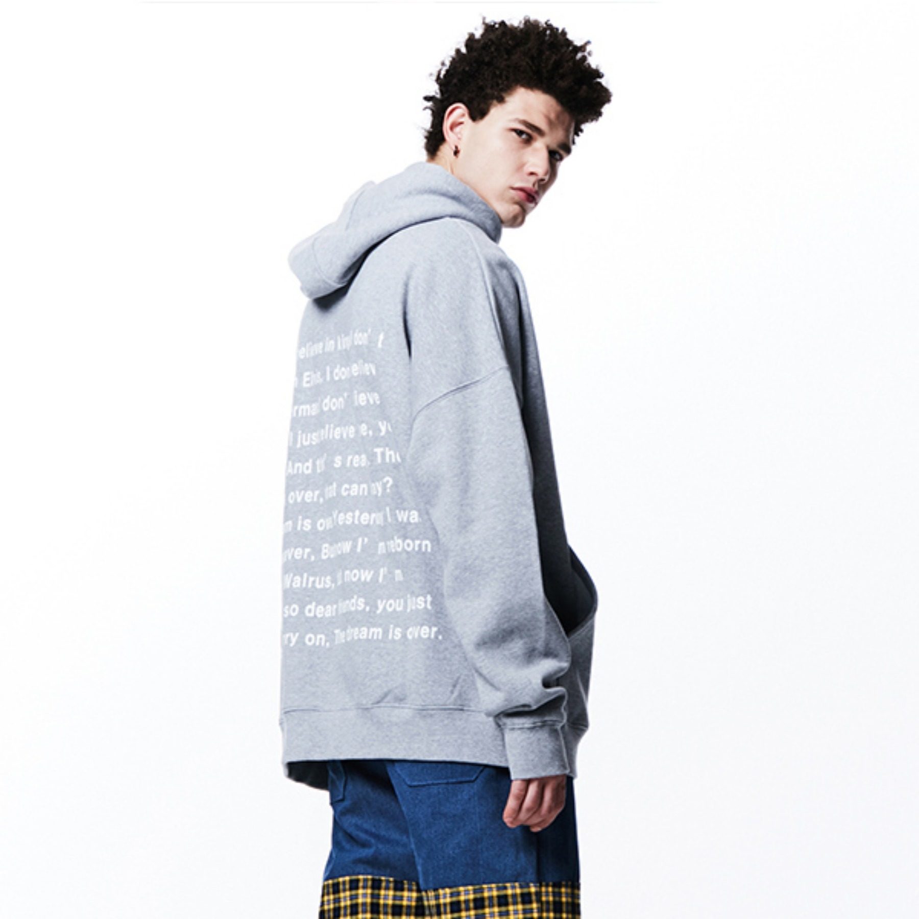 [054] BACK MESSAGE BOXY HOODIE (GRAY)