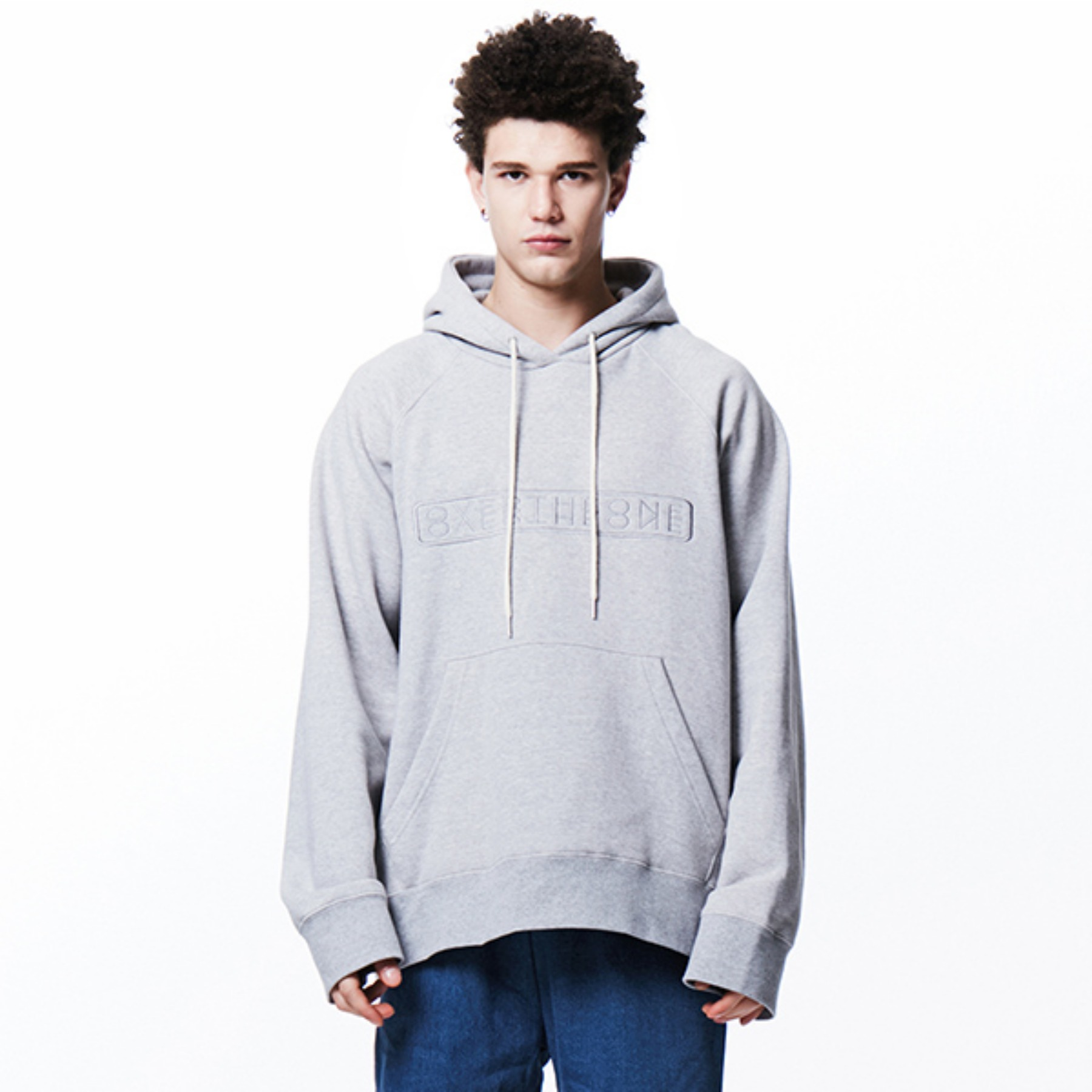 [010] OVER THE ONE SIGNATURE BOXY HOODIE (gray)