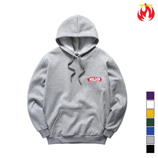 Burning Fire Hellvn Embroidery Hoody - h8c-402 - 후드티