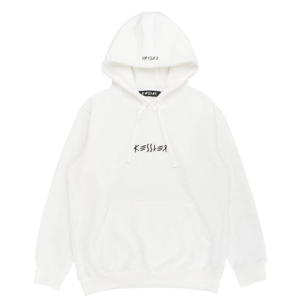 [케슬러] KESSLER - HOODED CROSS SWEATSHIRT (WHITE) 기모 후드 스웨트셔츠