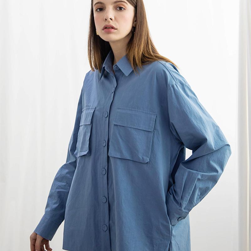 포켓 워싱 셔츠 - 블루