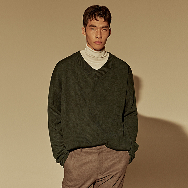 [DEANS] OVER DROP V SWEATER_GREEN
