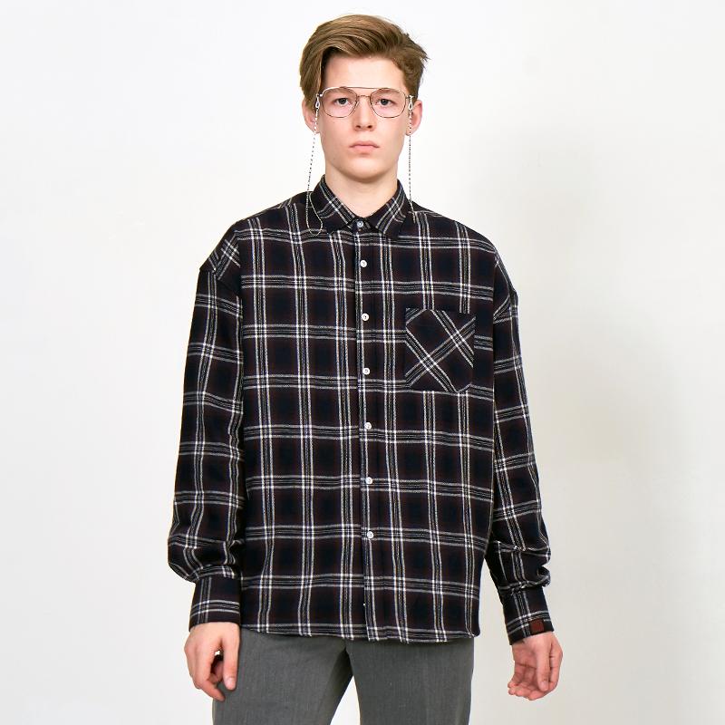 [UNISEX] 오버핏 원포켓 오버사이즈 남방 이지 캐주얼  타탄 체크 셔츠  4번 진네이비