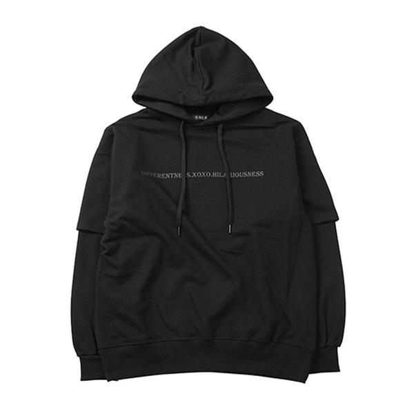 1/2 Layered hoodie [ black ]