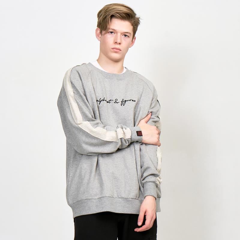 [UNISEX] 오버핏 레글런 배색 우라까이 절개 맨투맨 (스웨트 셔츠) 회색