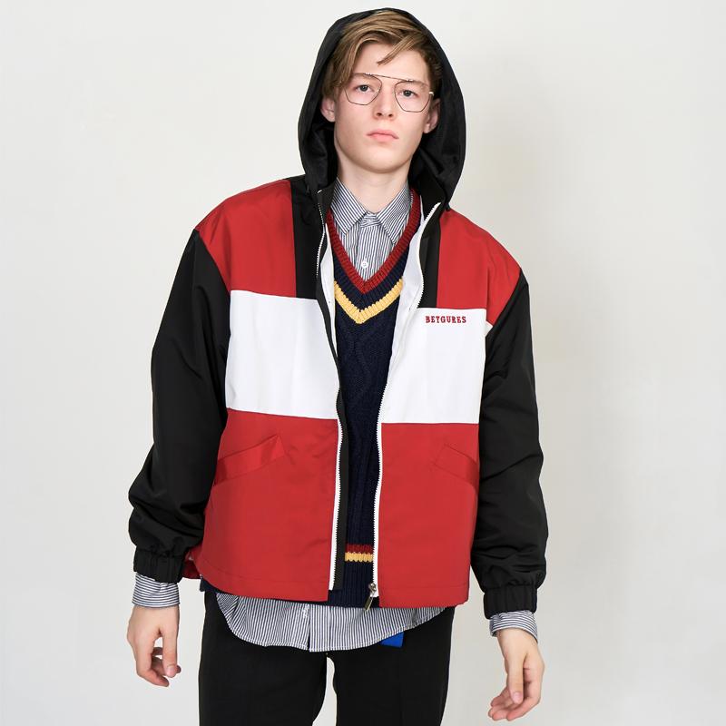 [UNISEX] 윈드 브레이커 레트로8.0 언발 배색 후드 집업 트랙자켓 바람막이 (마운틴 재킷) 빨검배색