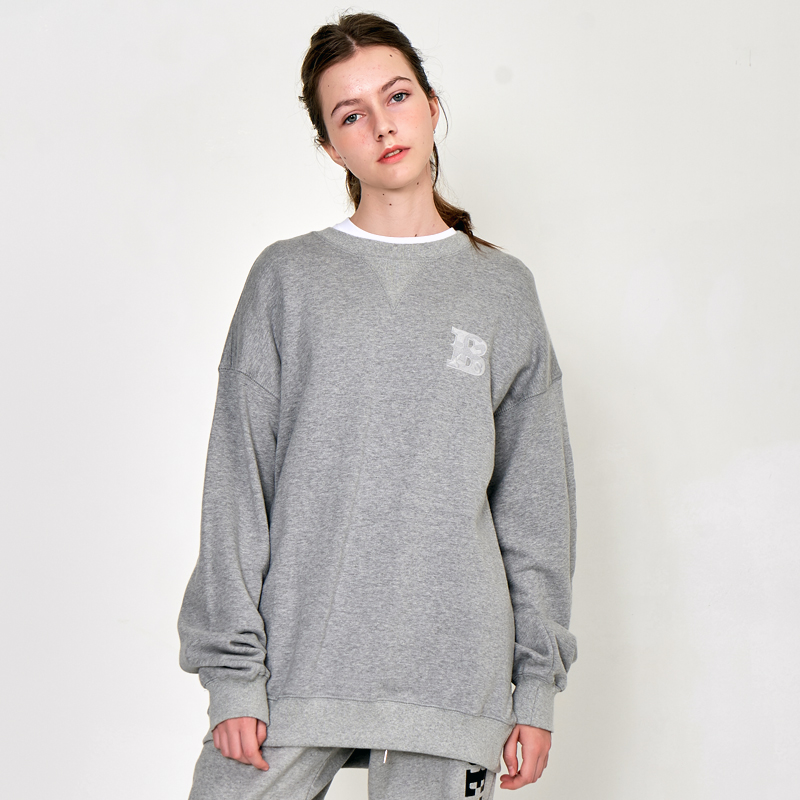 [UNISEX] 오버핏 오리지날 로고 레터링 자수 삼각 절개 맨투맨 (스웨트 셔츠)회색