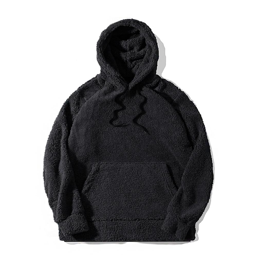 [로로팝] 양털후드티 블랙