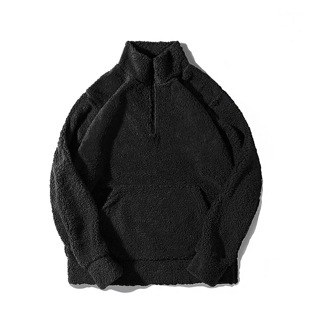 [로로팝] 양털하프집업 블랙