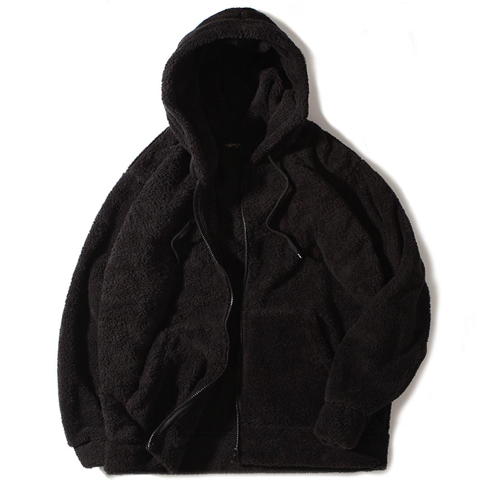 [크루비단독][로로팝] 양털후드집업 블랙