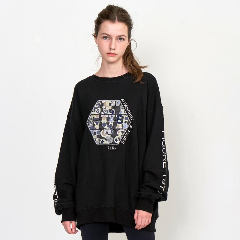 [UNISEX] 오버핏 어글리 아트웍 육각와펜 레터링 레트로 복고 맨투맨 (스웨트 셔츠)검정