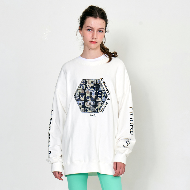 [UNISEX] 오버핏 어글리 아트웍 육각와펜 레터링 레트로 복고 맨투맨 (스웨트 셔츠)화이트