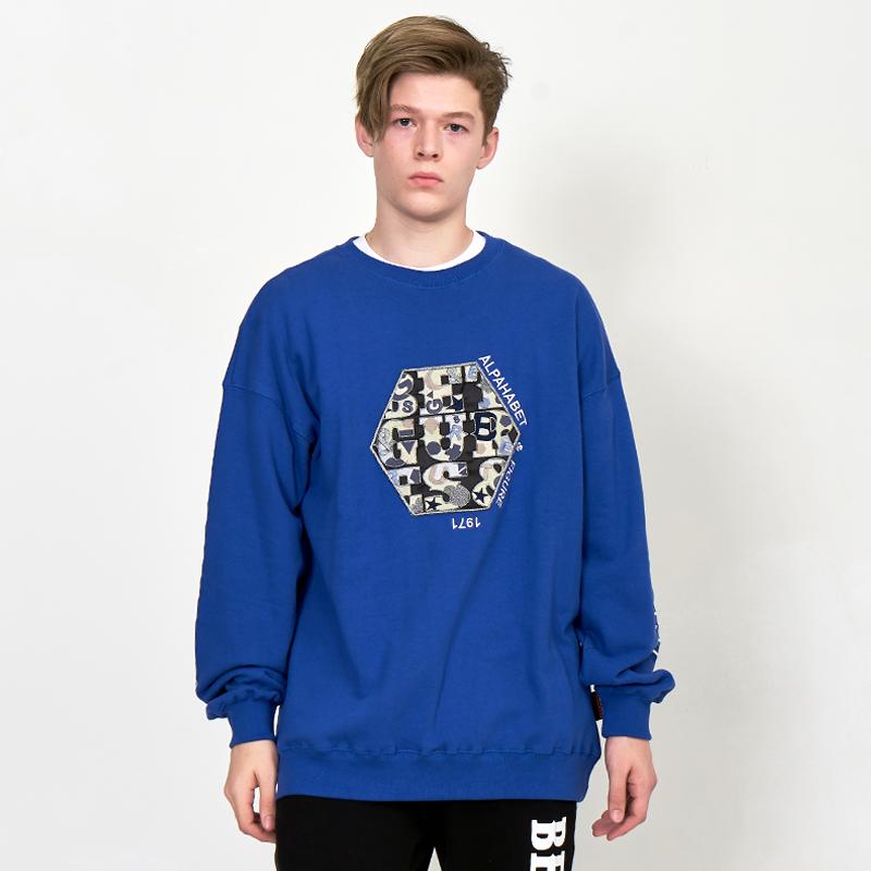 [UNISEX] 오버핏 어글리 아트웍 육각와펜 레터링 레트로 복고 맨투맨 (스웨트 셔츠)코발트 파랑