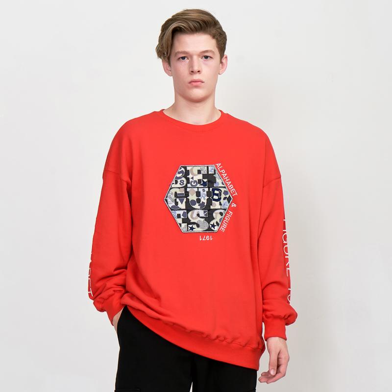 [UNISEX] 오버핏 어글리 아트웍 육각와펜 레터링 레트로 복고 맨투맨 (스웨트 셔츠)빨강