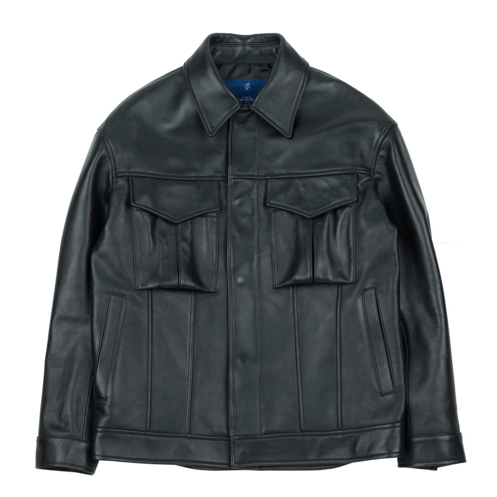 [슬로우유니버스] (유니섹스) 오버사이즈 램스킨 트러커 재킷 (블랙)
