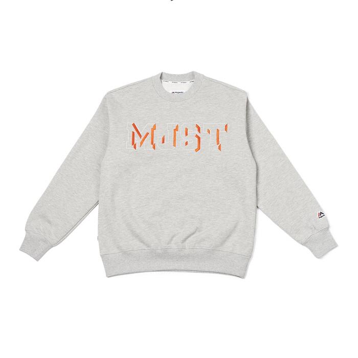 [MAJESTIC] ML183UCAMT012 MJST 로고자수 스웨트셔츠 (그레이)