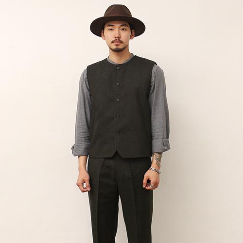 Wool Vest -Khaki-