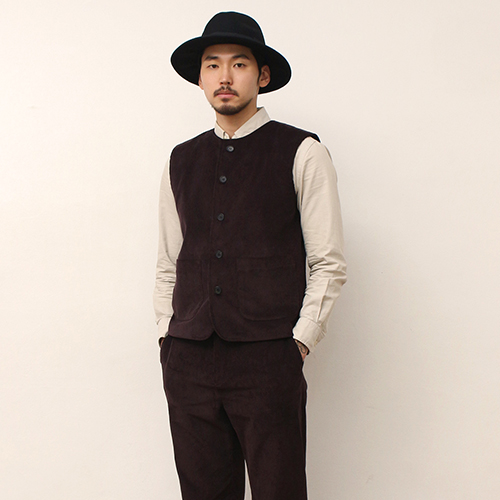 Corduroy Vest -Brown-