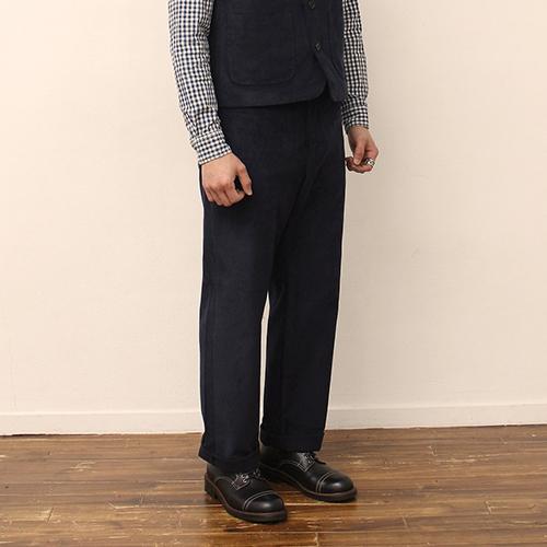 Corduroy Pants -Navy-