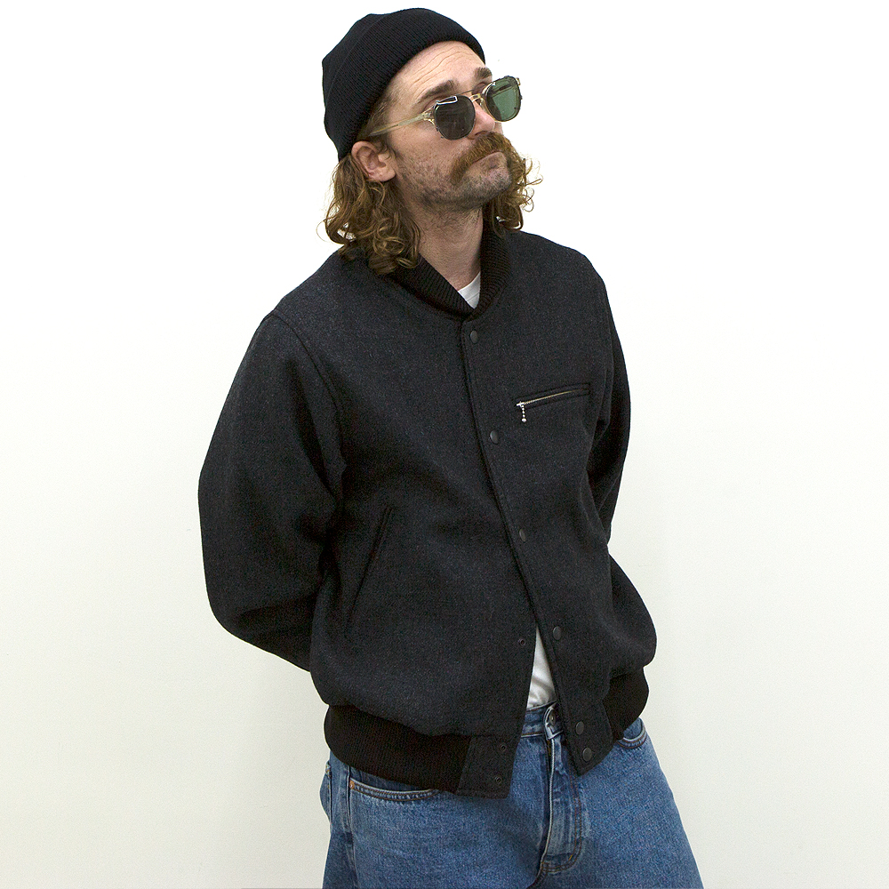 Wool Stadium Jacket -Charcoal-