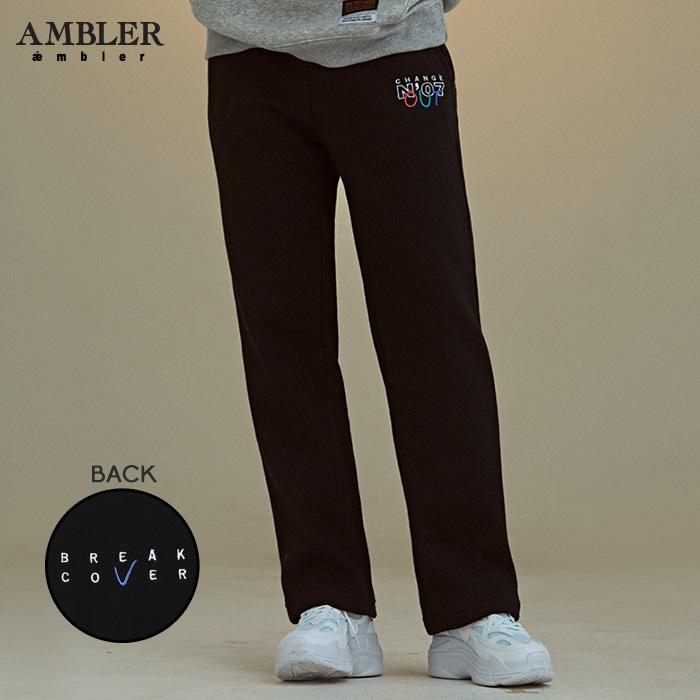 [엠블러]AMBLER 신상 기모 트레이닝 팬츠 AP208-블랙 기모 자수