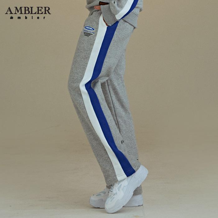 [엠블러]AMBLER 신상 기모 트레이닝 팬츠 AP209-멜란지 기모 자수