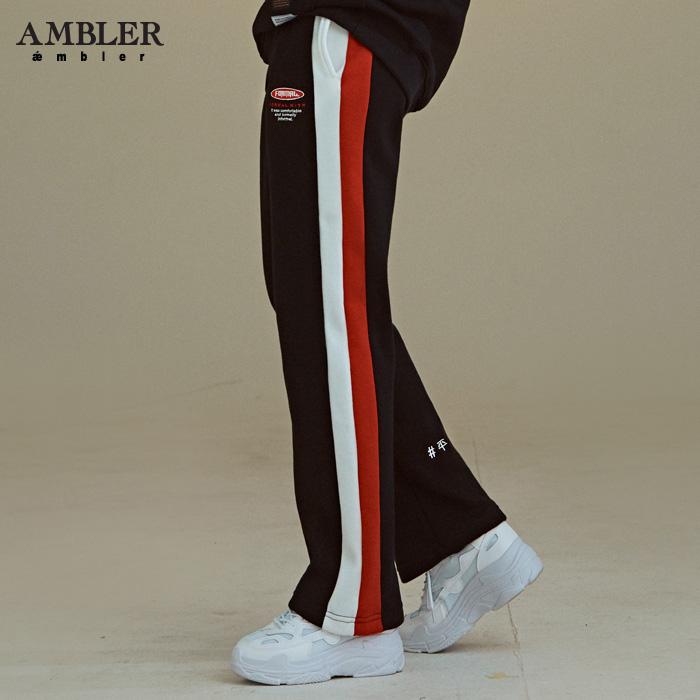 [엠블러]AMBLER 신상 기모 트레이닝 팬츠 AP209-블랙 기모 자수
