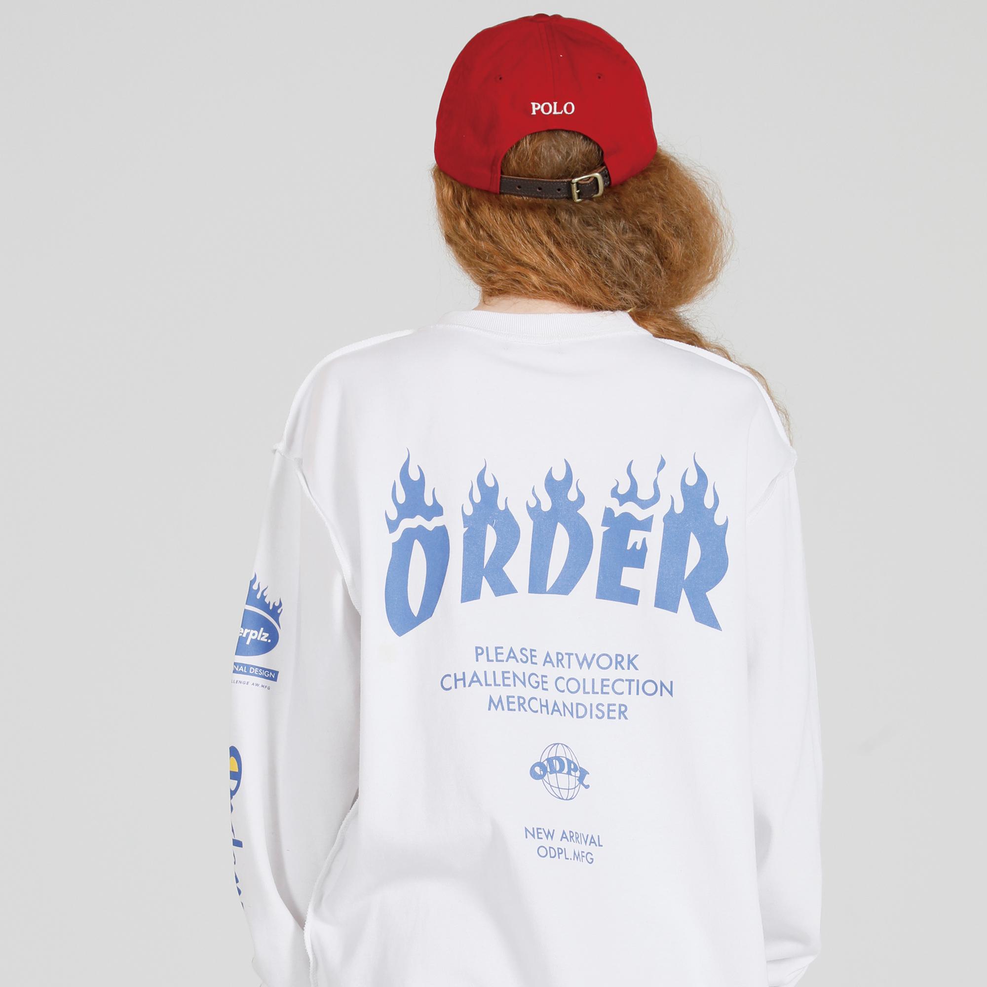 오더플리즈 챌런지 오더 슬리브 01 화이트_긴팔 티셔츠