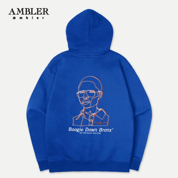 [엠블러]AMBLER 신상 자수 후드티 AHP512-블루
