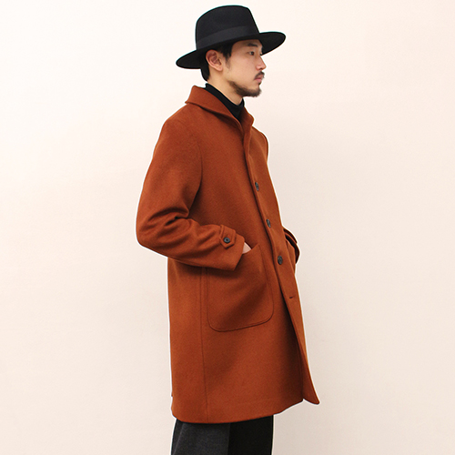 Shawl Collar Coat -Reddish Brown-