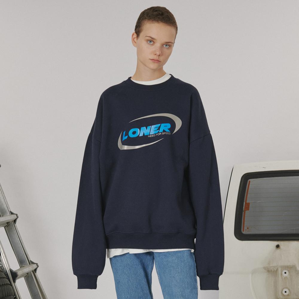 [로너] Circle racer logo sweatshirt -navy