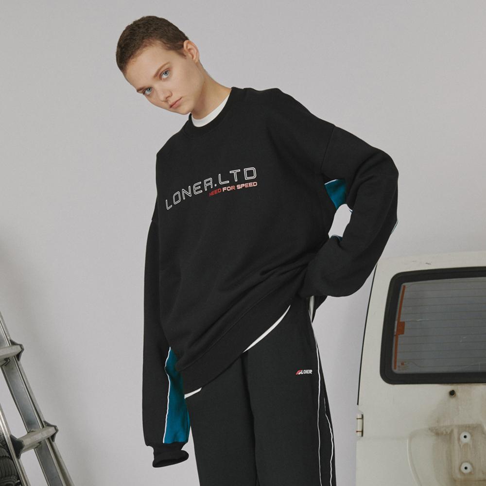 [로너] Sleeve point sweatshirt -black