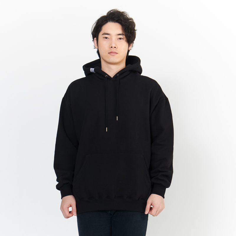 (UNISEX) 오버핏 가성비 베이직 기본자수 남녀공용 기모 맨투맨 풀오버 후드 (후디) 검정