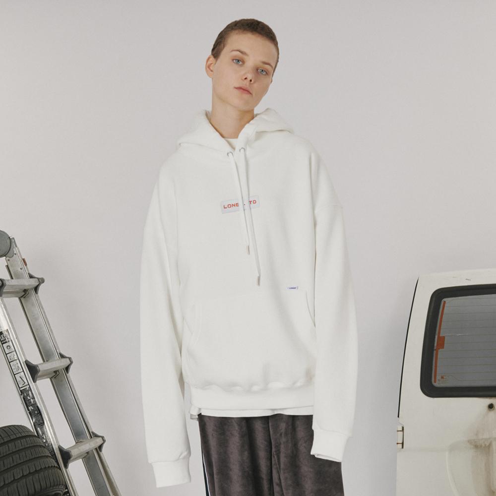 [로너] Patch logo hoodie -white