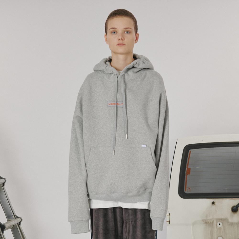 [로너] Patch logo hoodie -gray