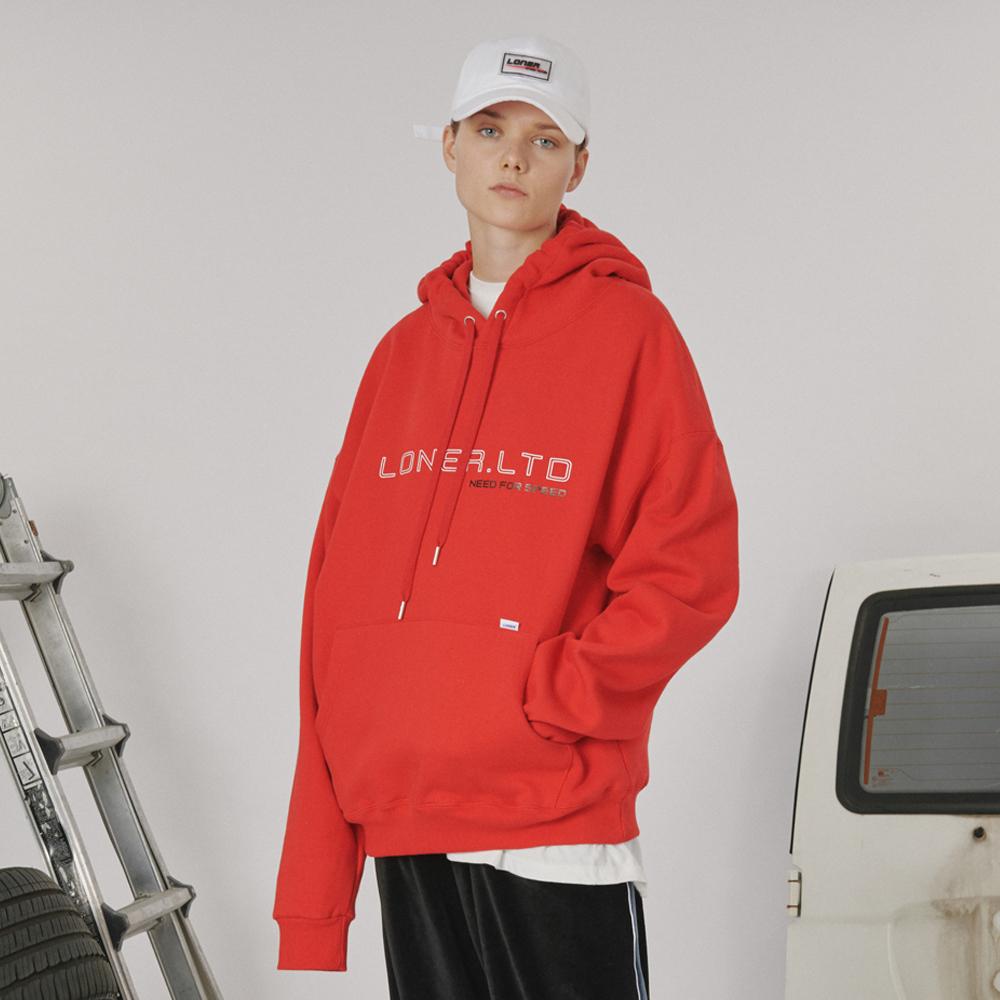 [로너] Outline logo hoodie -red