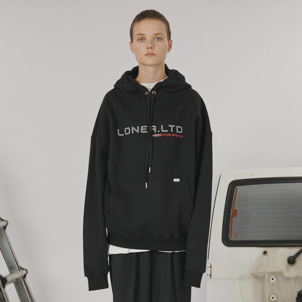 [로너] Outline logo hoodie -black