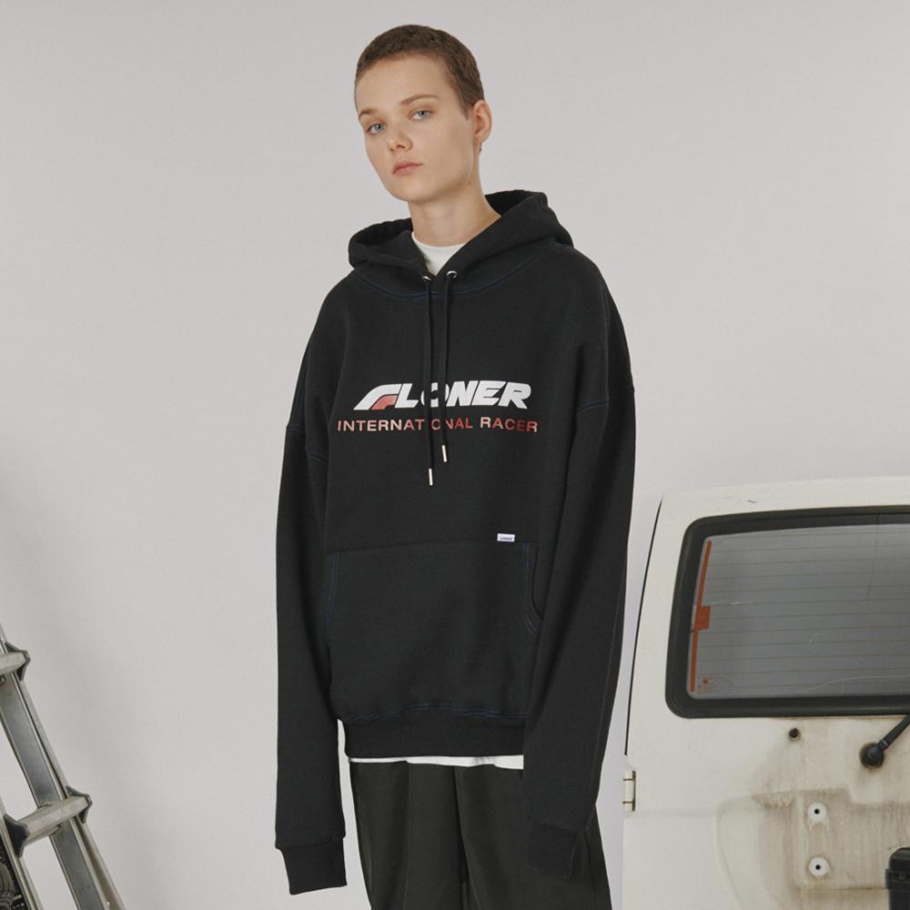 [로너] Stitch point hoodie -black