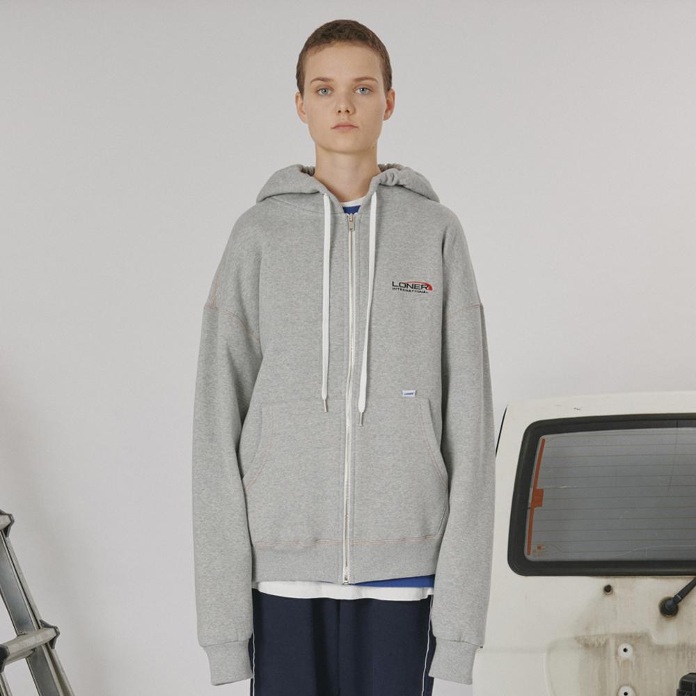 [로너] Stitch point hoodie zipup -gray