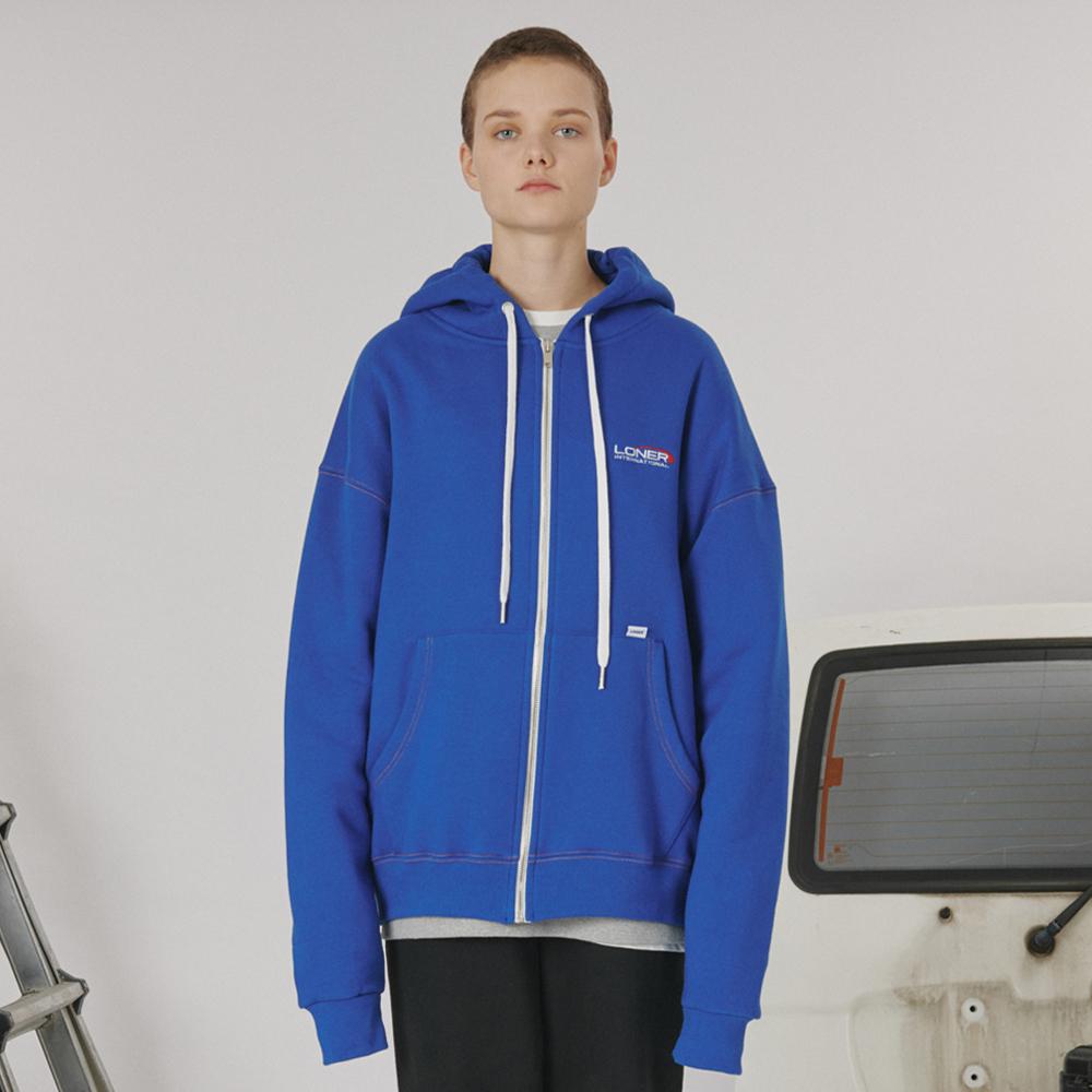 [로너] Stitch point hoodie zipup -blue